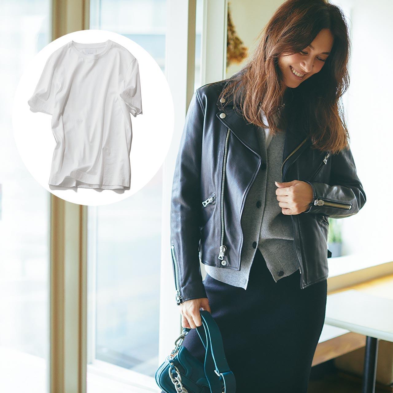 ライダースジャケット×Tシャツコーデを着たモデルのブレンダさん