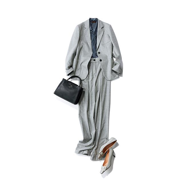 上品なとろみと落ち感が美しいジャケットは、マニッシュな中にエレガントさがきわだつ装いで