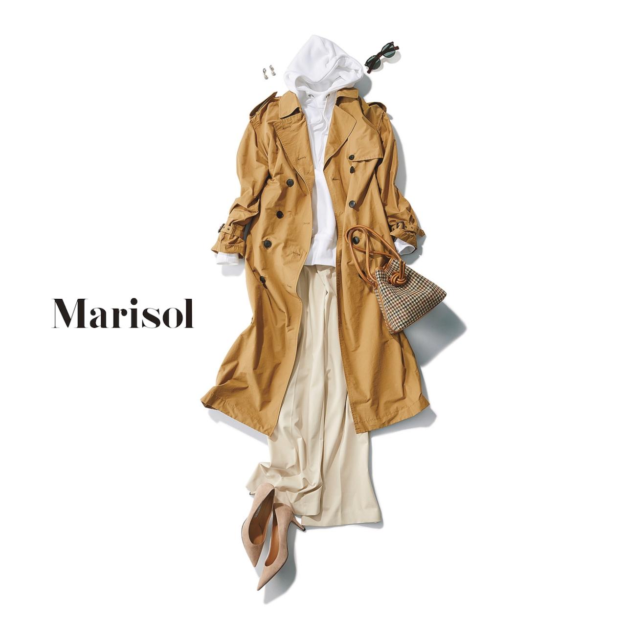 40代ファッション フーディ×ワイドパンツ×トレンチコートコーデ