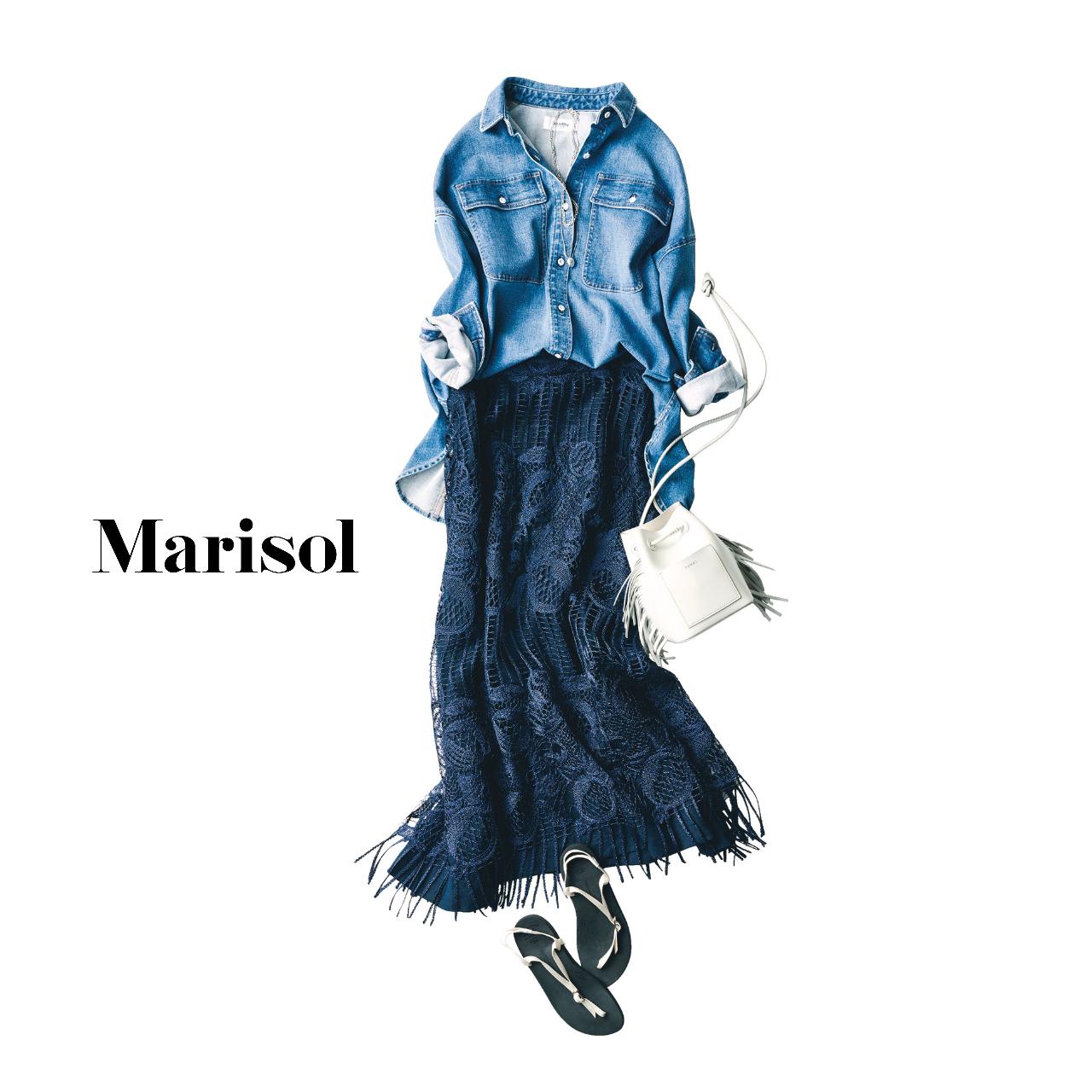 40代ファッション  デニムシャツ×レースワンピース コーデ