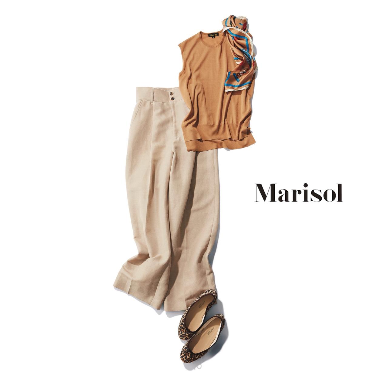 40代ファッション ベージュニット×ベージュパンツコーデ
