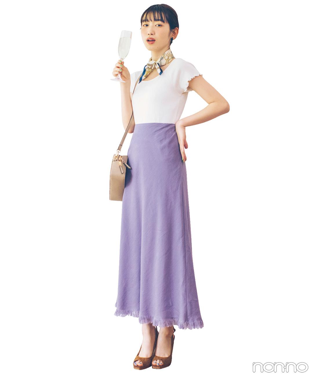 ラベンダーのスカートが主役! 夏の脚長スタイルアップコーデ♡【毎日コーデ】