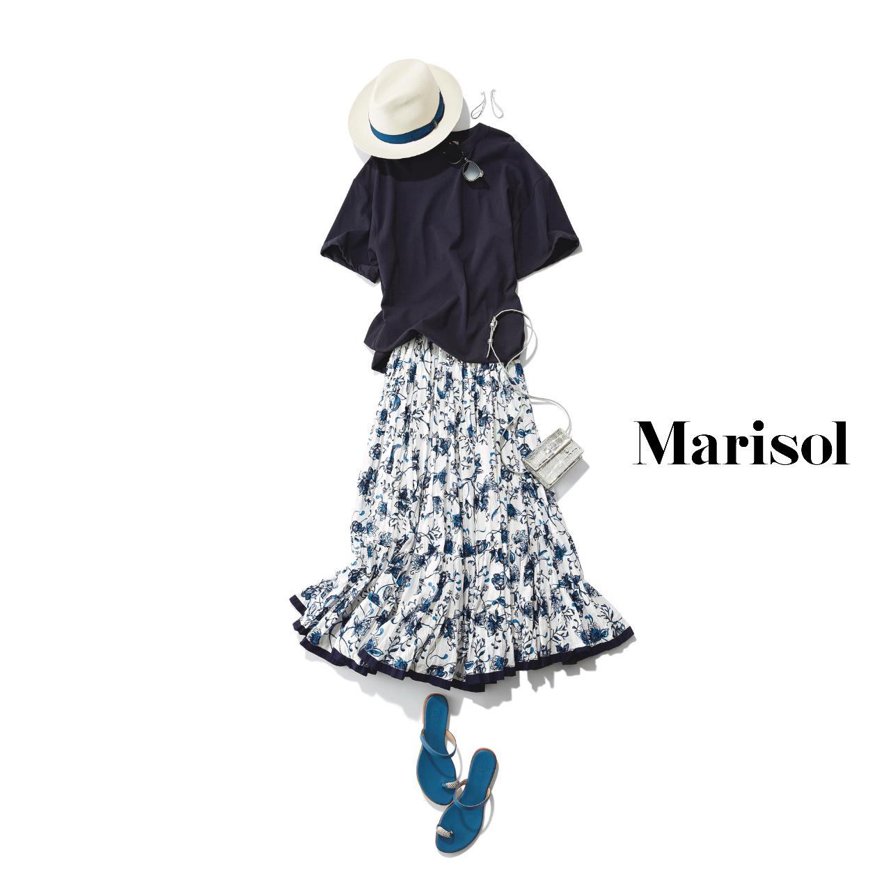40代ファッション  Tシャツ×ニット×柄ロングスカートトコーデ