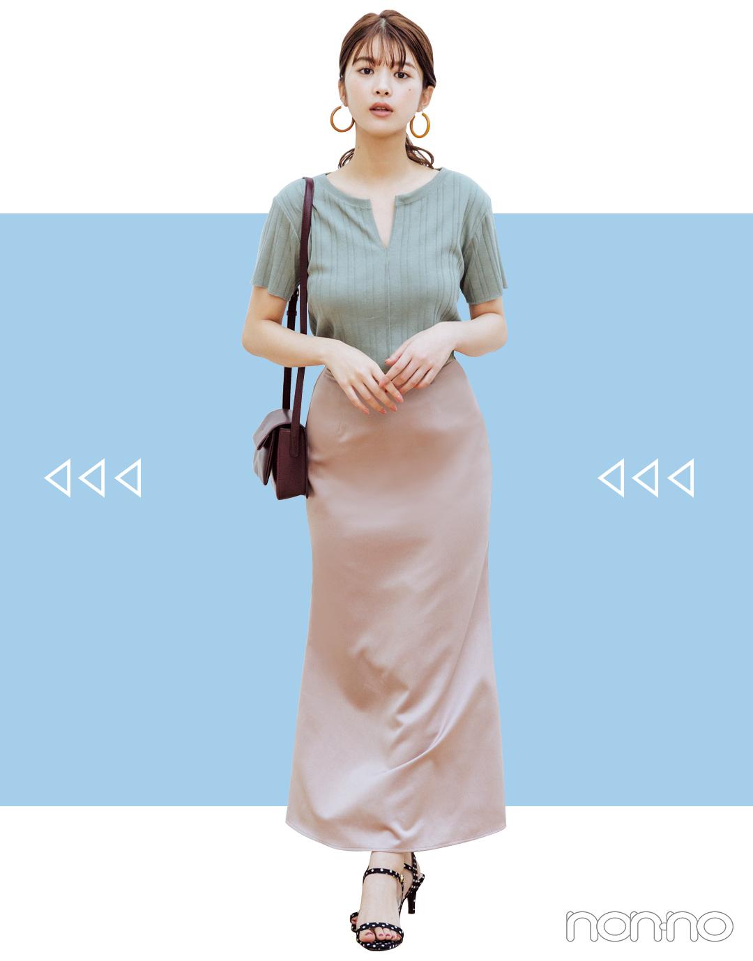 2019秋トレンド★ 今&秋使えるのは「長くて軽い」サテンスカート!_1_3-2