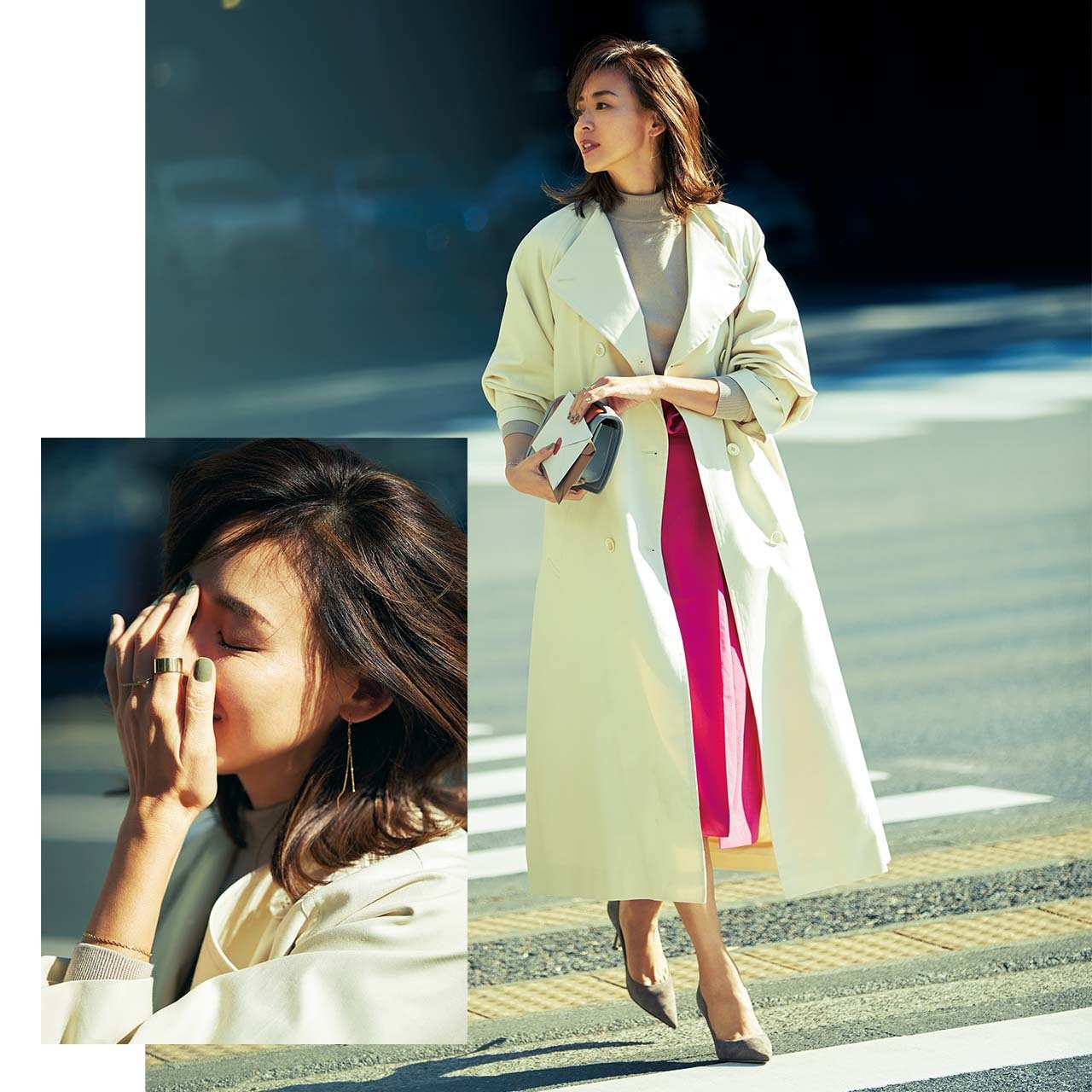 オーバーサイズのトレンチコート×スカートコーデを着たモデルのSHIHOさん