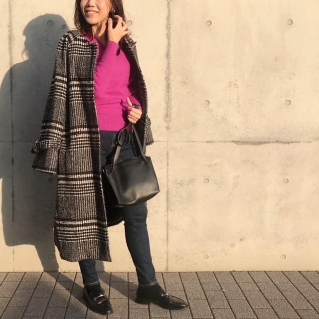 ピンクニットのコーディネート アラフォーファッション