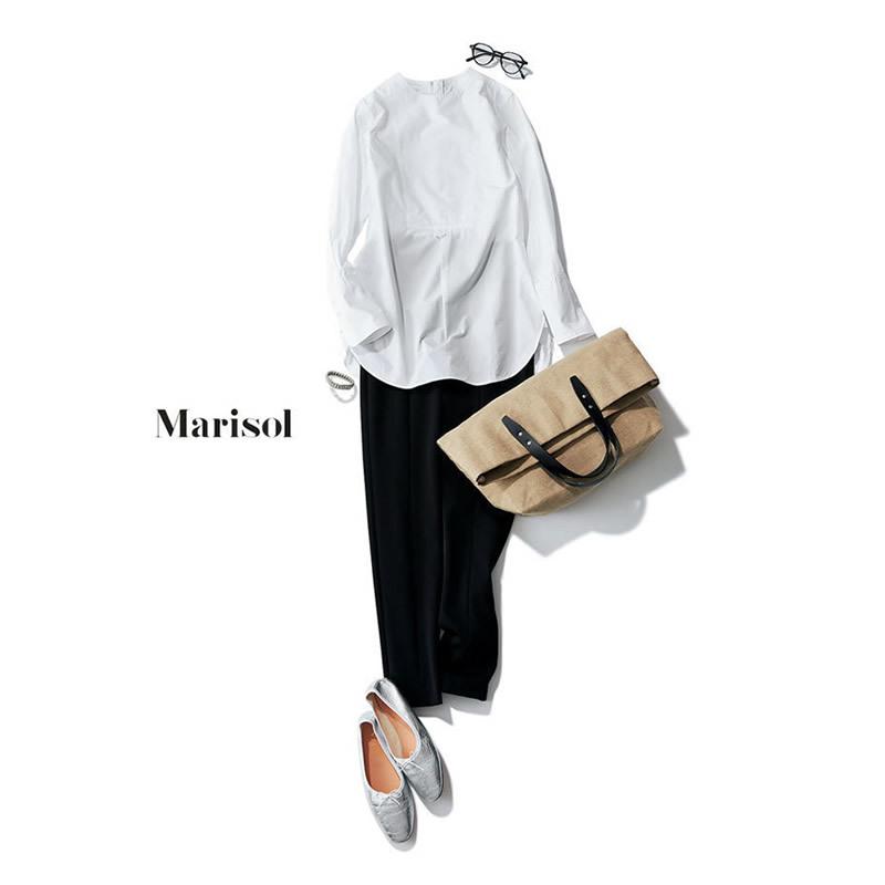 白のノーカラーシャツと黒のクロップドパンツコーデ