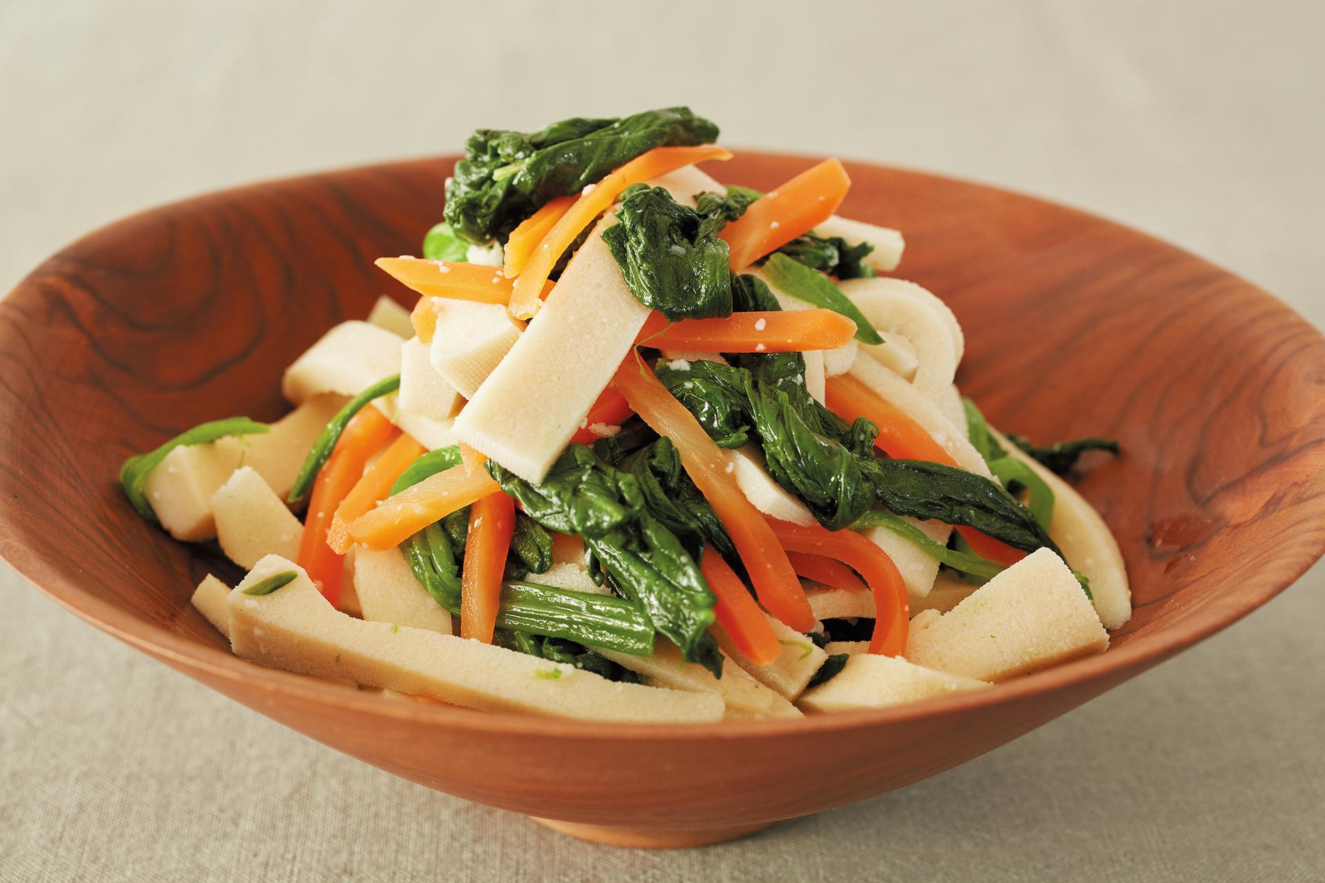 貧血対策&女性にうれしい成分も! 高野豆腐と緑黄色野菜の塩麹あえ_1_1