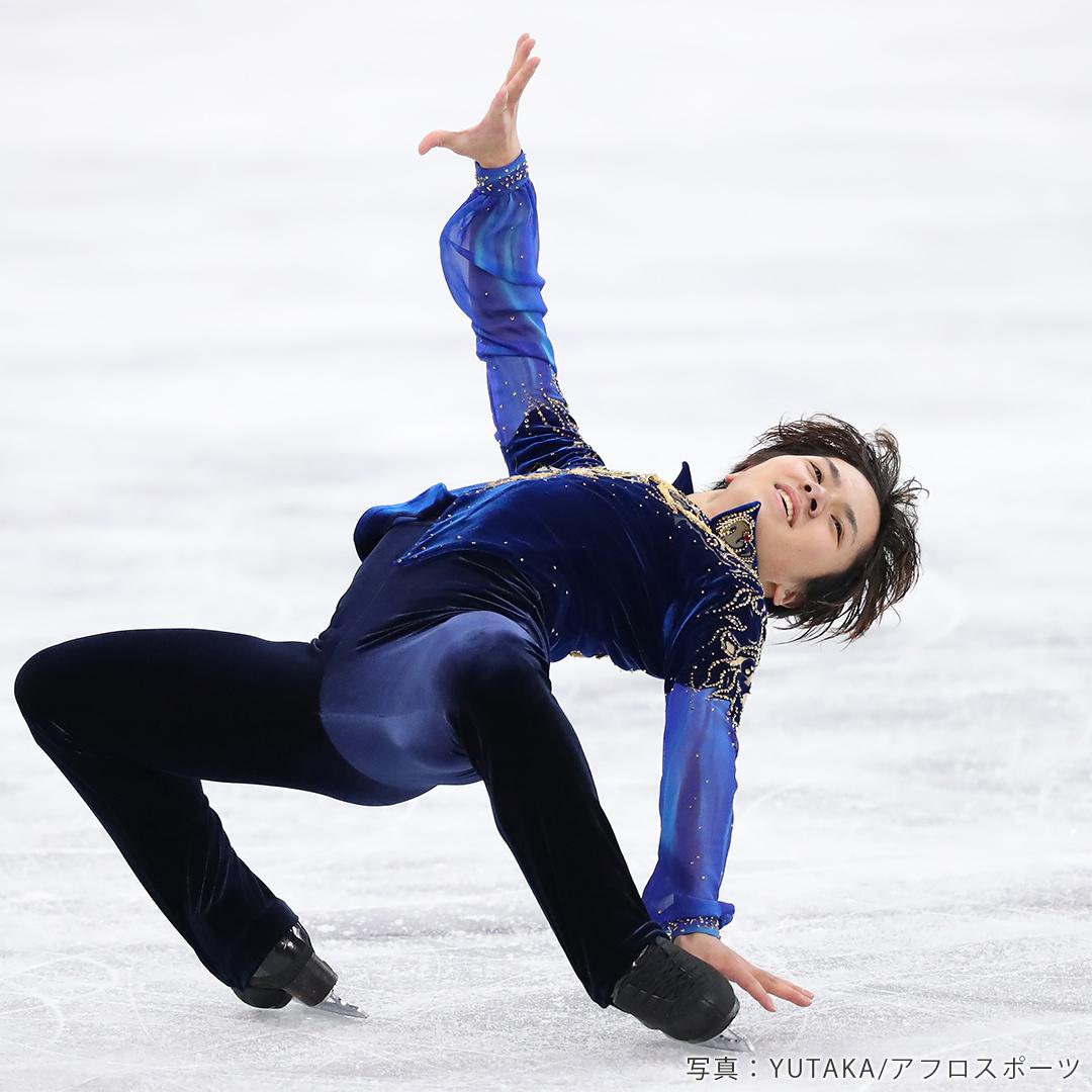 2018年平昌オリンピック男子FSクリムキンイーグルを披露する宇野昌磨選手