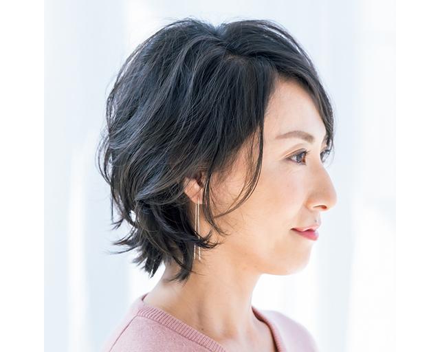 自然な毛流れとボリューム感のショートヘアのサイド