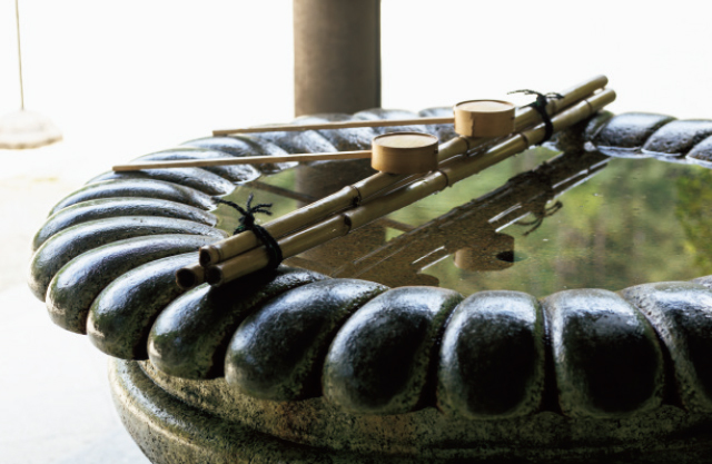 月輪陵の菊花形手水鉢