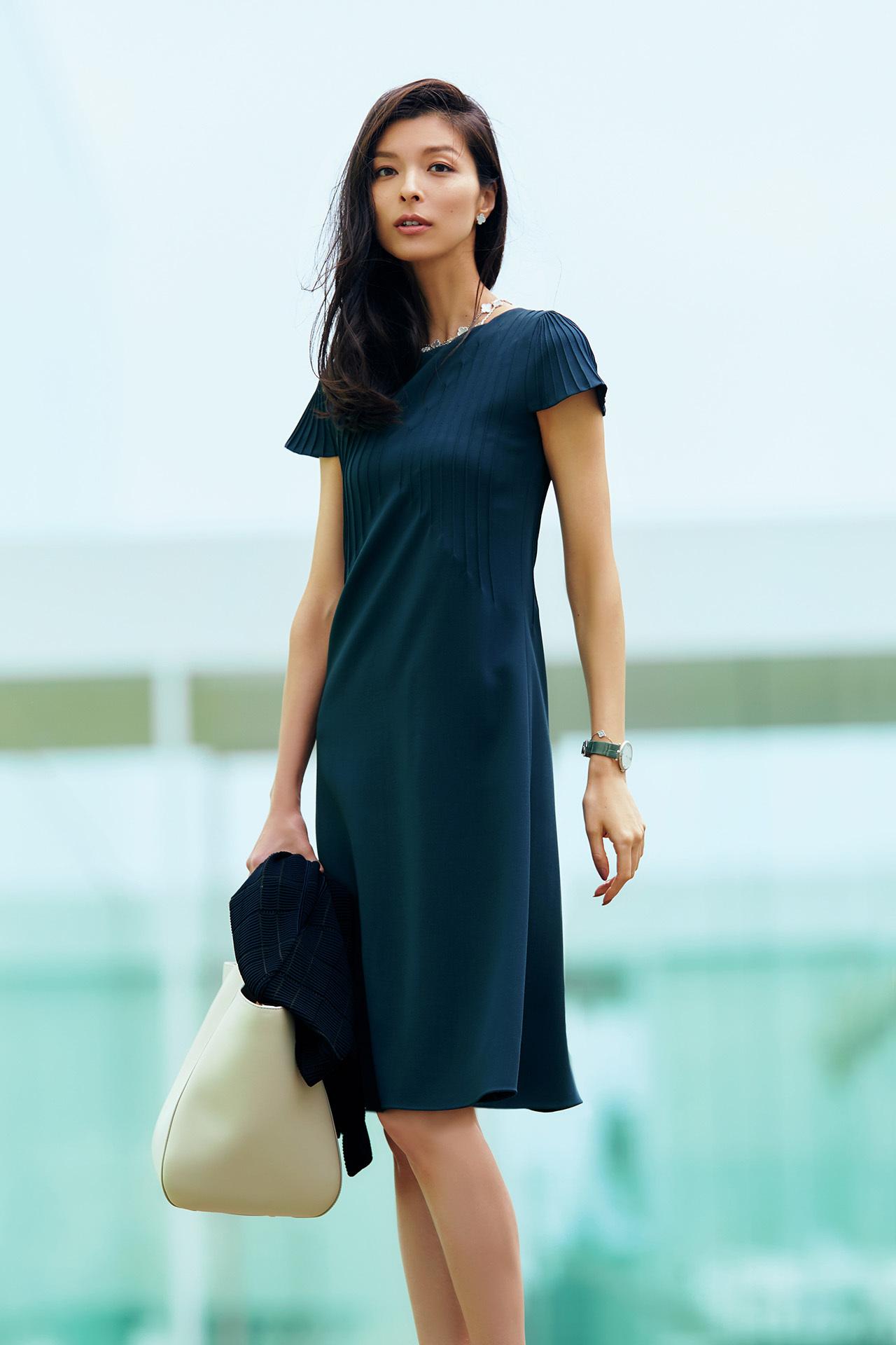 好印象、上品、しかも涼しい!袖つき限定、夏のビジネスワンピース 五選_1_1-1