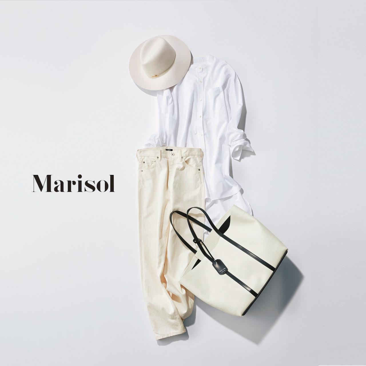 40代ファッション 白シャツ×白デニムコーデ
