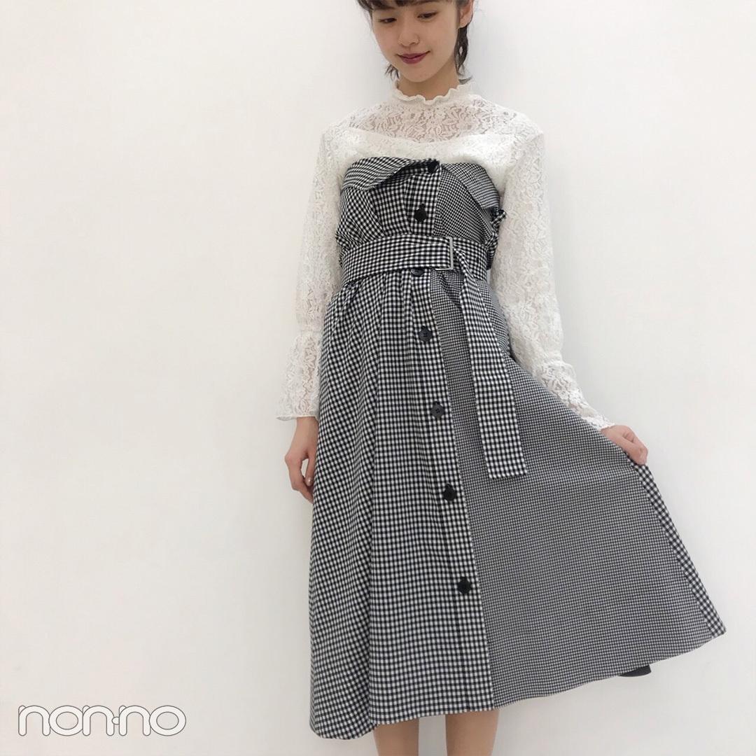 鈴木優華はスナイデルのチェックワンピで春っぽく♡【モデルの私服スナップ】_1_2-1