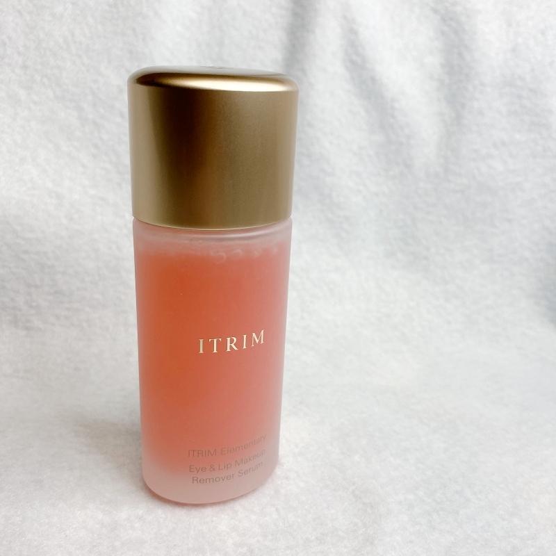 ITRIMのエレメンタリーアイ&リップメイクアップリムーバーセラムをシェイクすると美しいピンク色に
