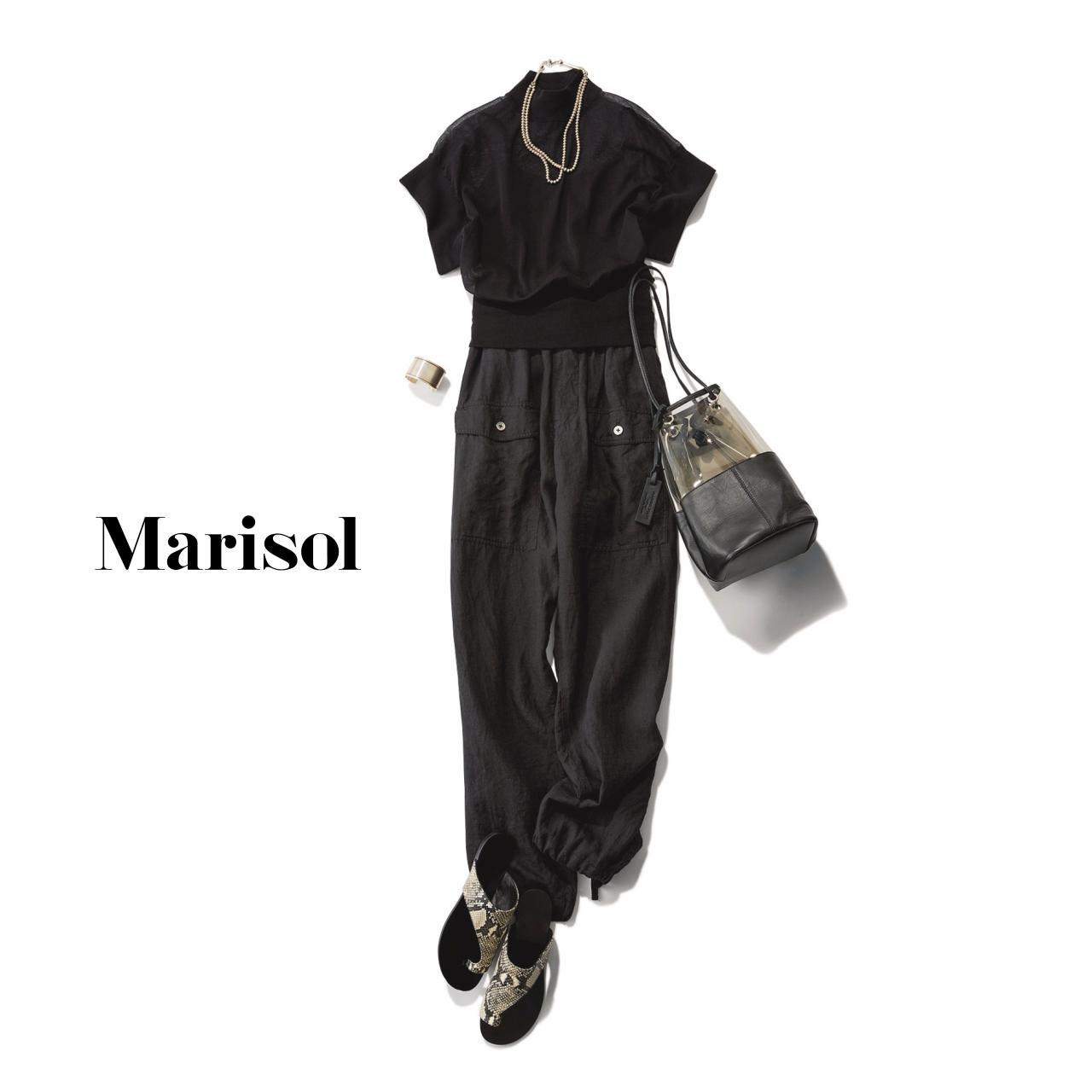 40代ファッション 黒ニット×黒ワークパンツコーデ