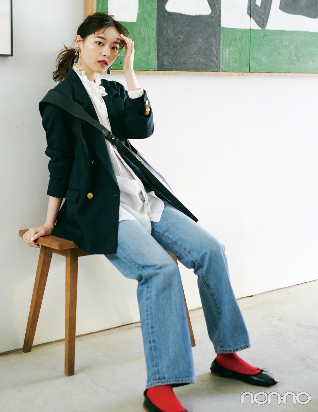 西野七瀬は端正なジャケットにカラーソックスで遊んじゃう!【大学生の毎日コーデ】