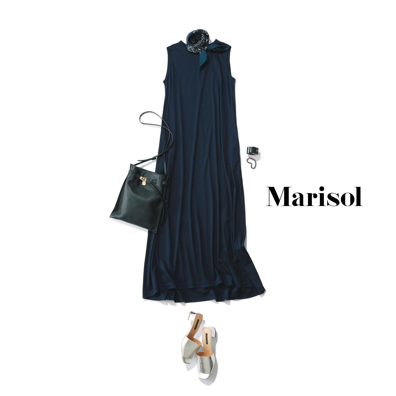 40代ファッション ノースリーブワンピースコーデ