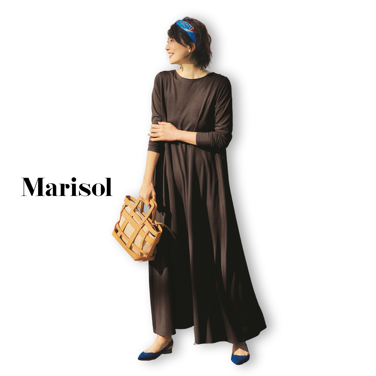 40代ファッション ブラウンマキシ丈ワンピースコーデ