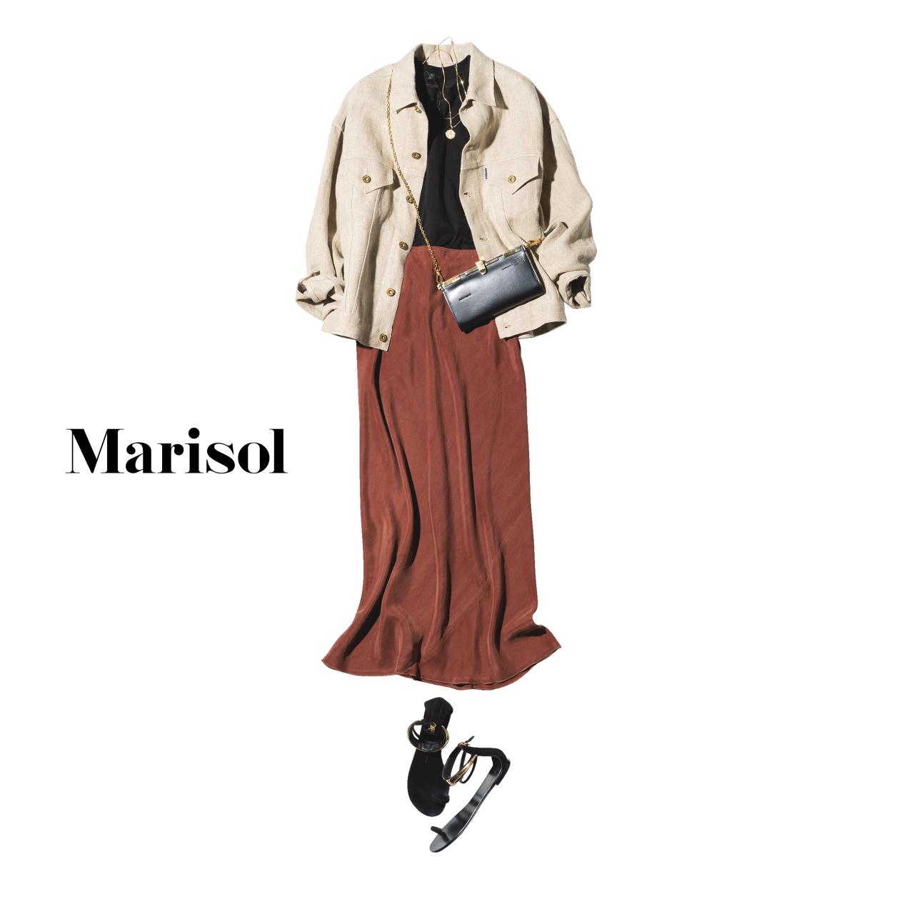 40代ファッション 黒シャツ×ベージュジャケット×ブラウンマキシ丈スカートコーデ