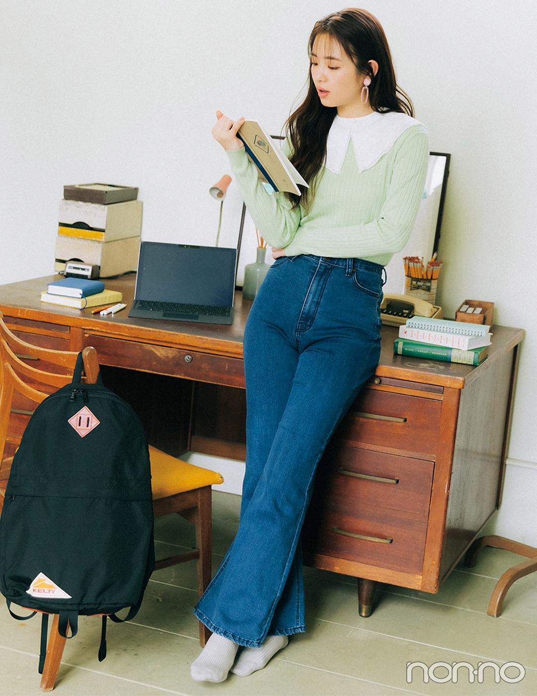 横田真悠はトレンドのビッグカラーシャツをレイヤード