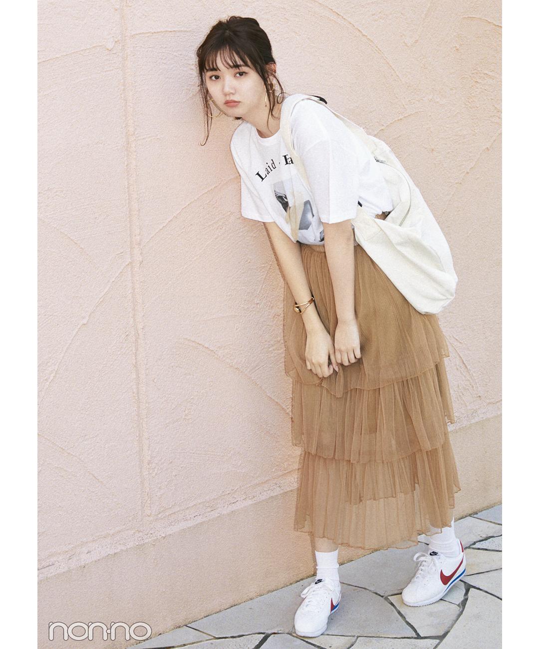 【夏のロングスカートコーデ】江野沢愛美の、甘めスカートで魅せるスポカジ風MIXコーデ♡