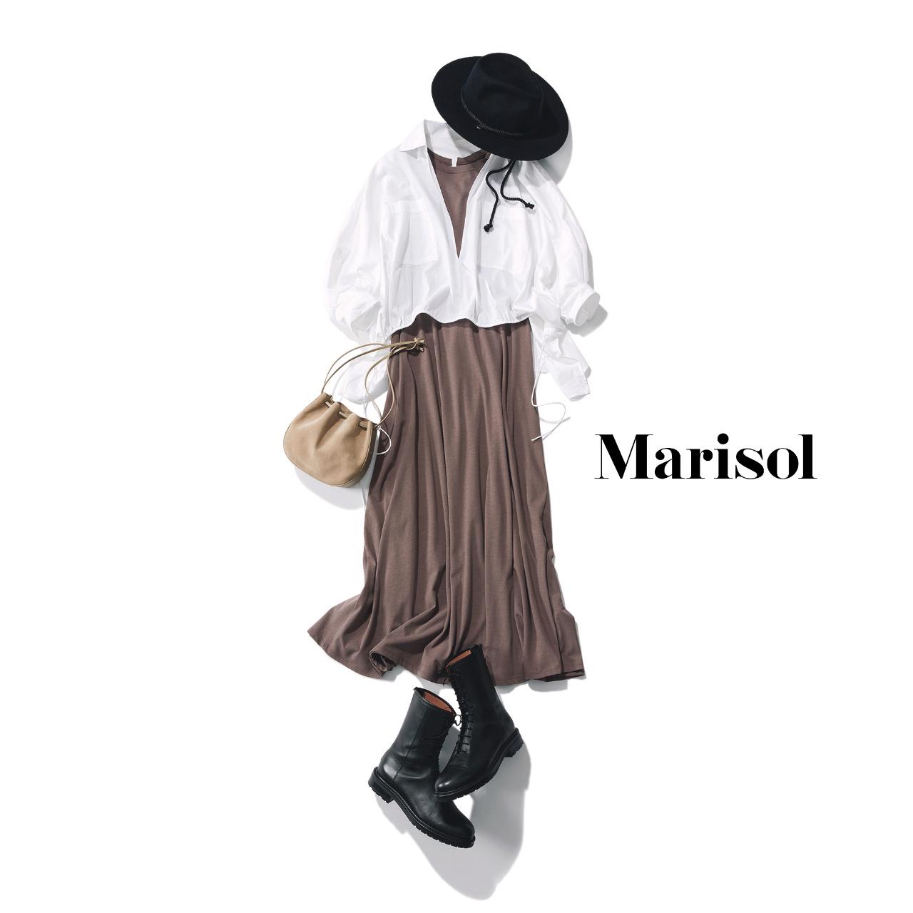 40代ファッション  ワンピース×白シャツコーデ