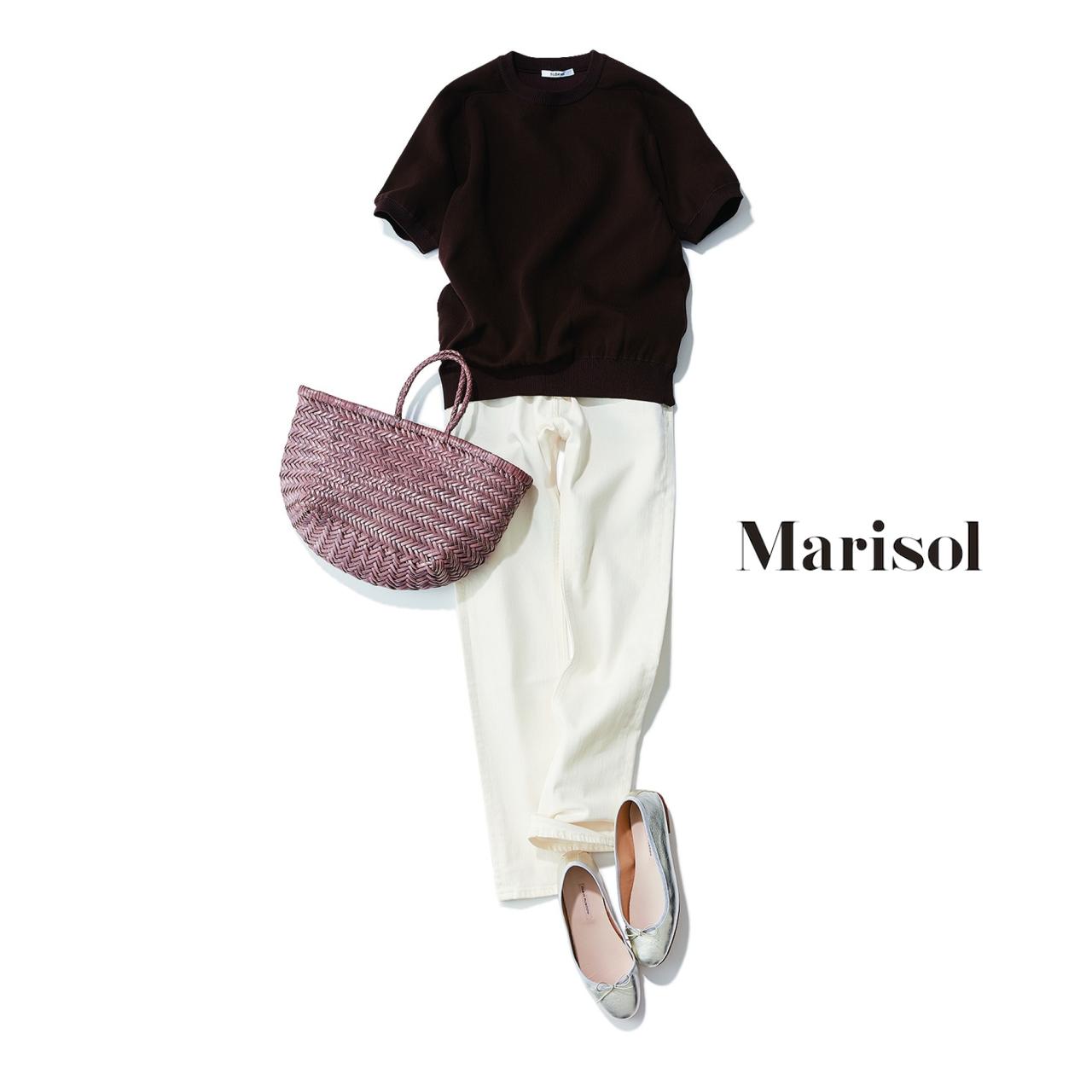 ファッション 半袖クルーネックニット×白デニムコーデ