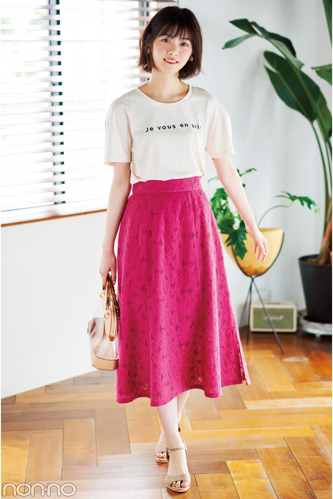 西野七瀬の夏スタイル♡ ロゴTシャツ着回しコーデ1×3!_1_3-3