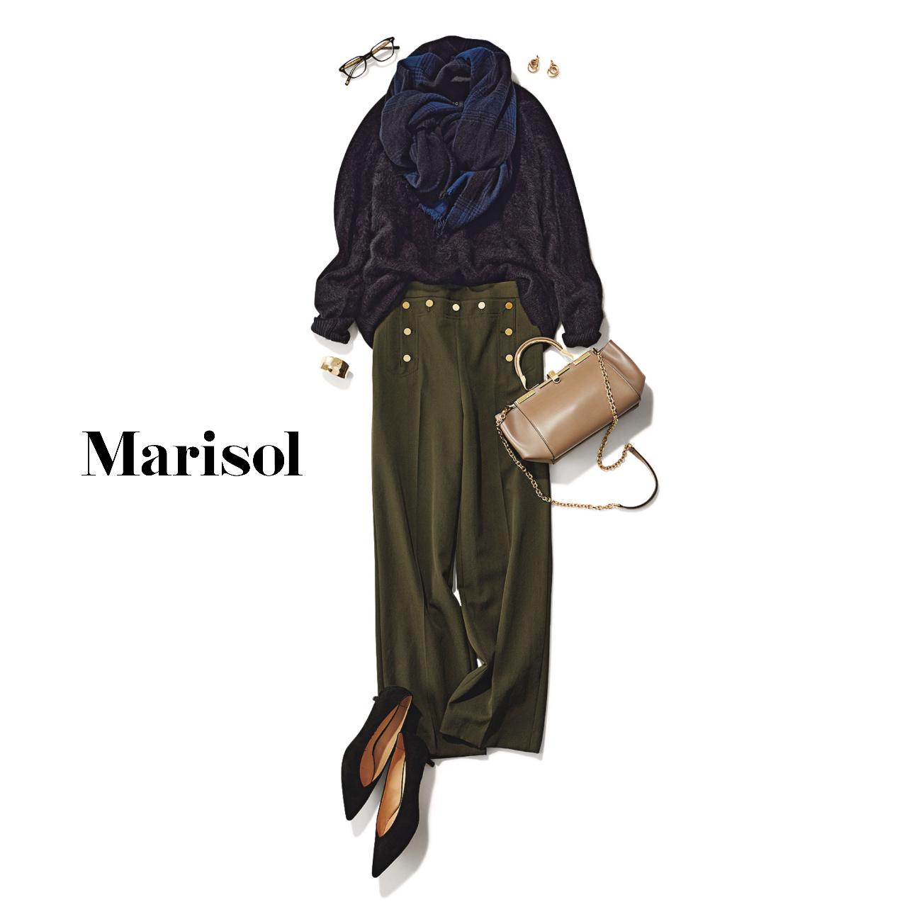 40代ファッション  ニット×マリンパンツコーデ