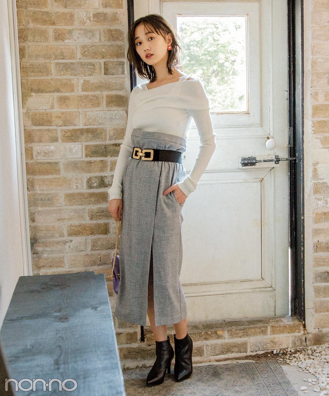 【モノトーンコーデ】女らしいIライン&スリット入りスカートで色っぽく!