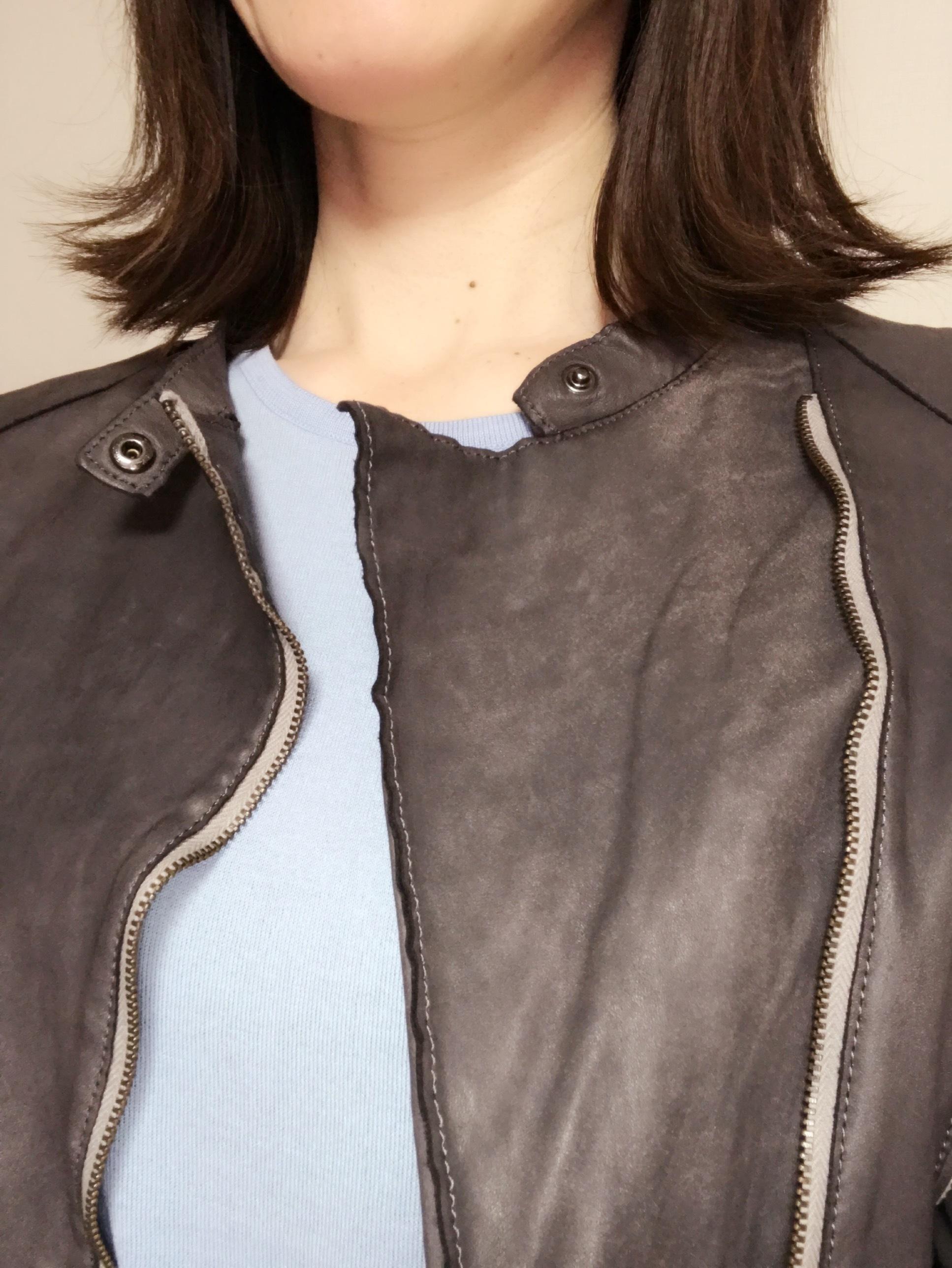 リアル通勤コーデ。清々しい青空の木曜日はお気に入りのレザージャケットで!_1_2
