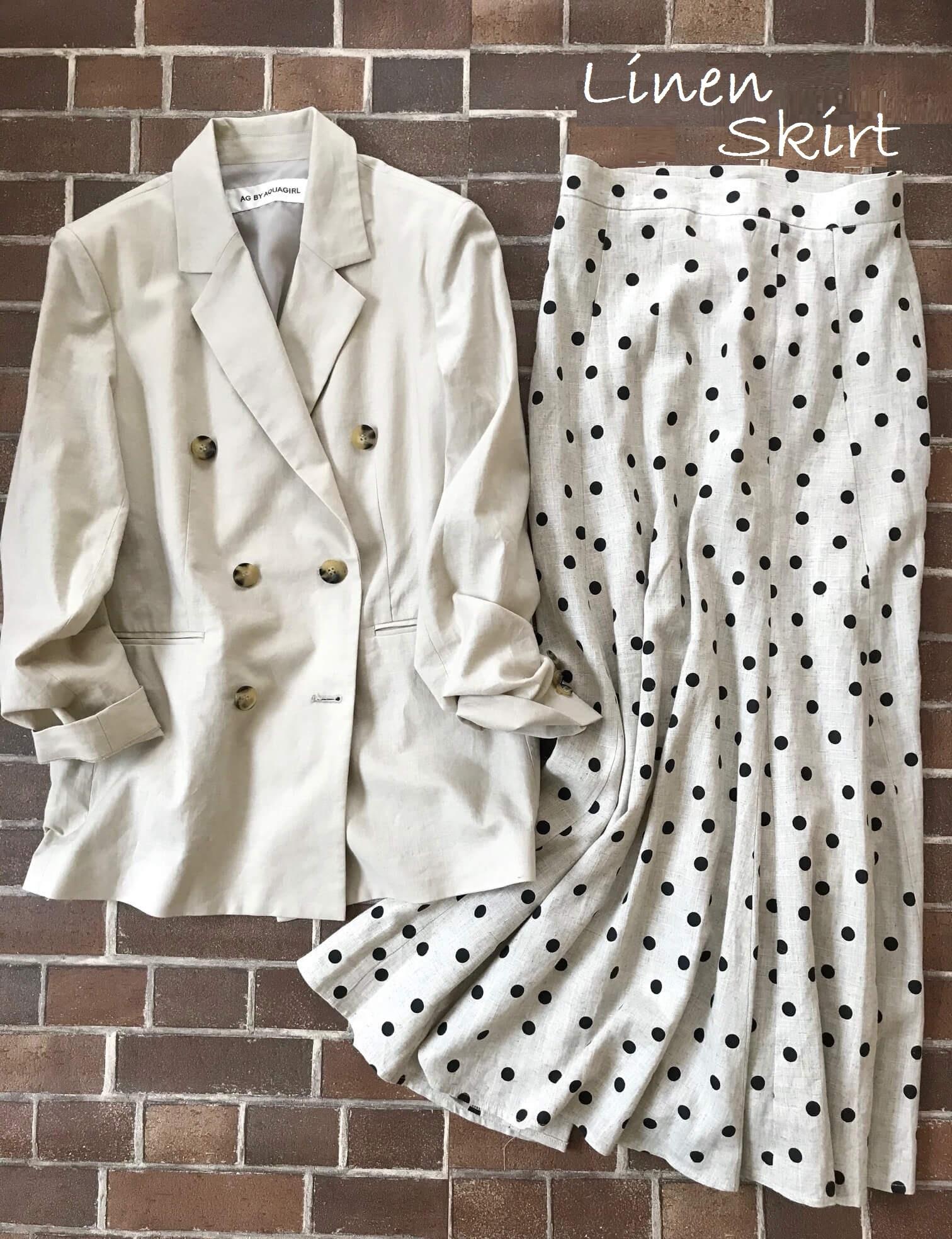 AG by aquagirl のジャケットとリネンスカートを合わせた画像