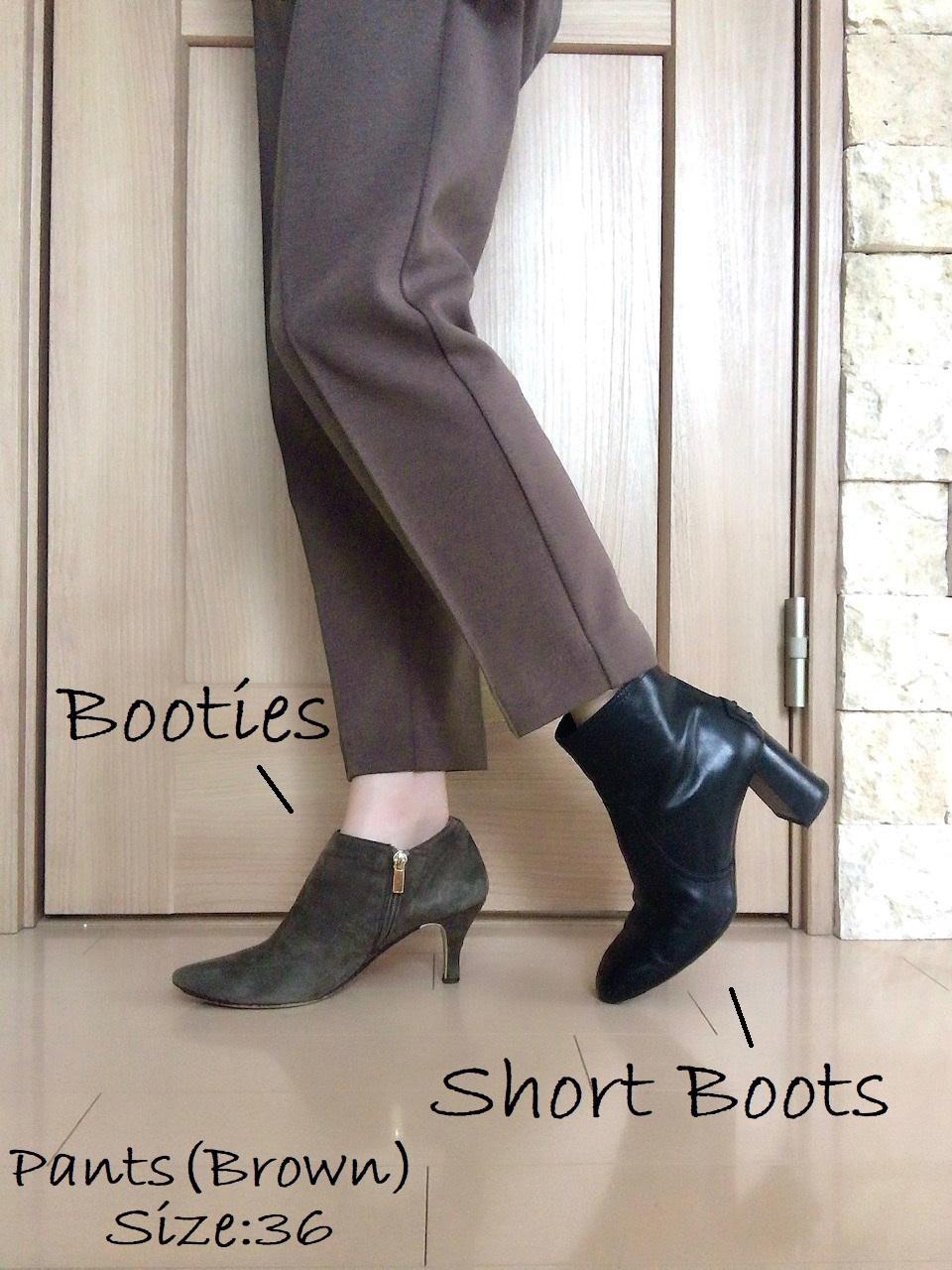 コラボ商品のパンツとブーツを合わせた画像