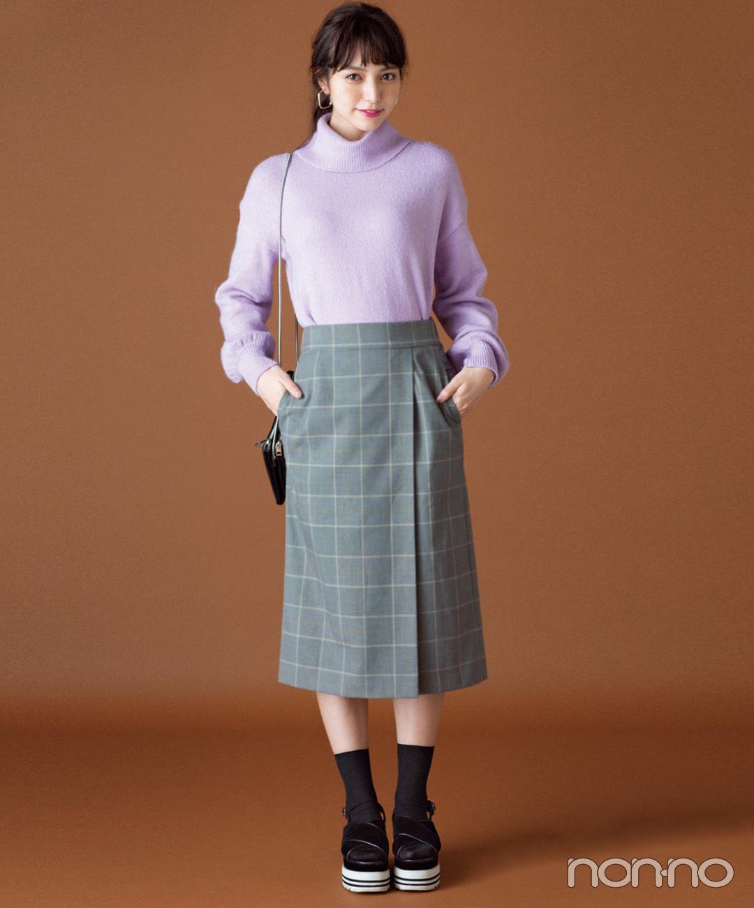 【ユニクロのタイトスカート】優しげなパステルニットが女らしさを底上げ!