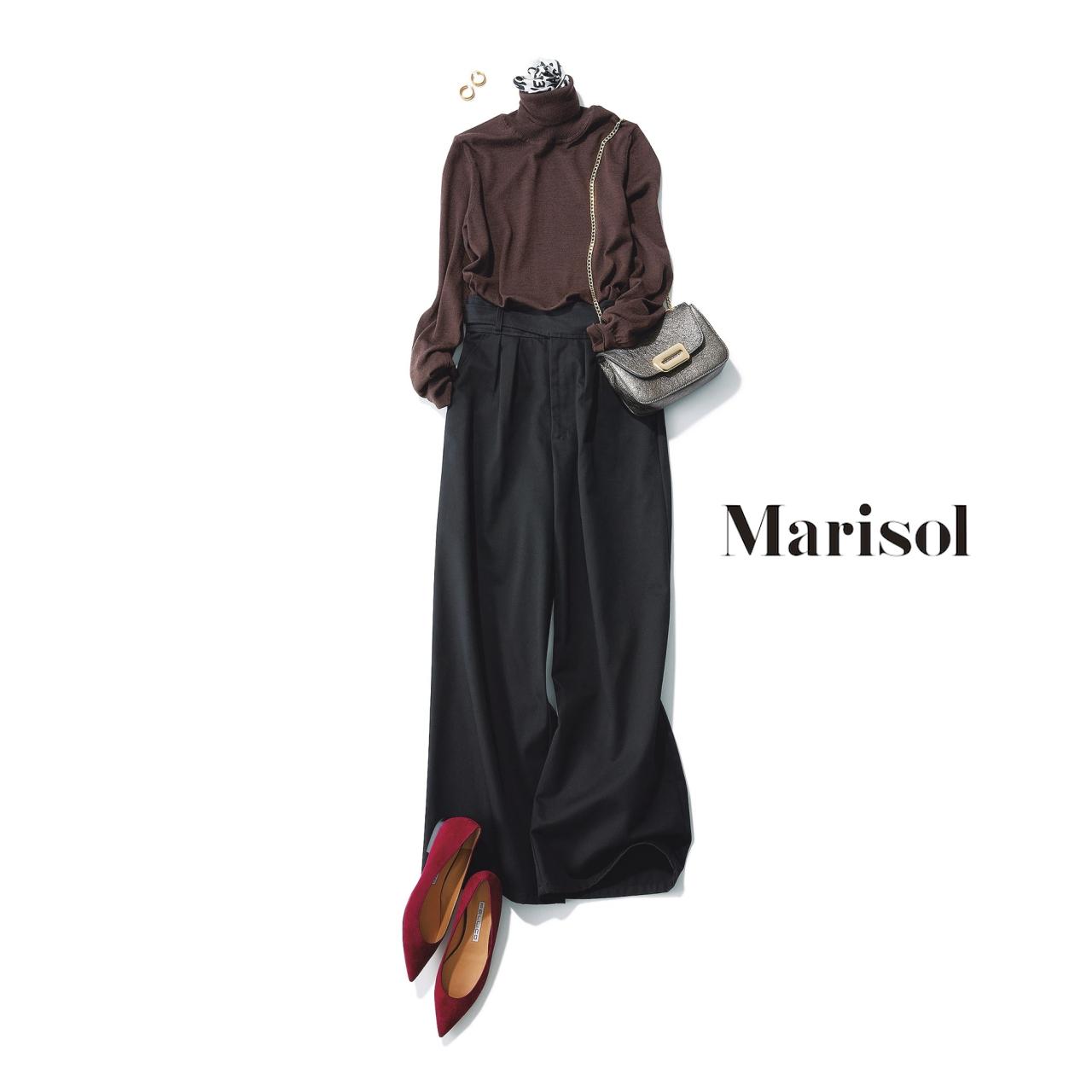 40代ファッション ブラウンニット×黒ワイドパンツコーデ