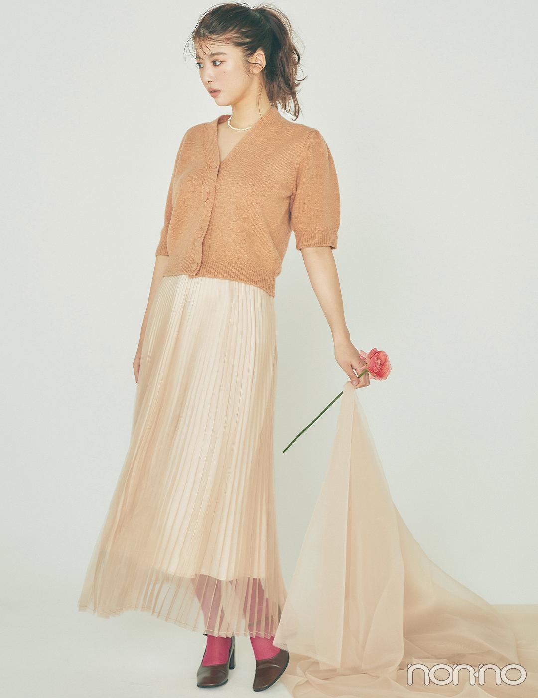 馬場ふみかはふわっと透けるスカートでほんのり色っぽく【毎日コーデ】