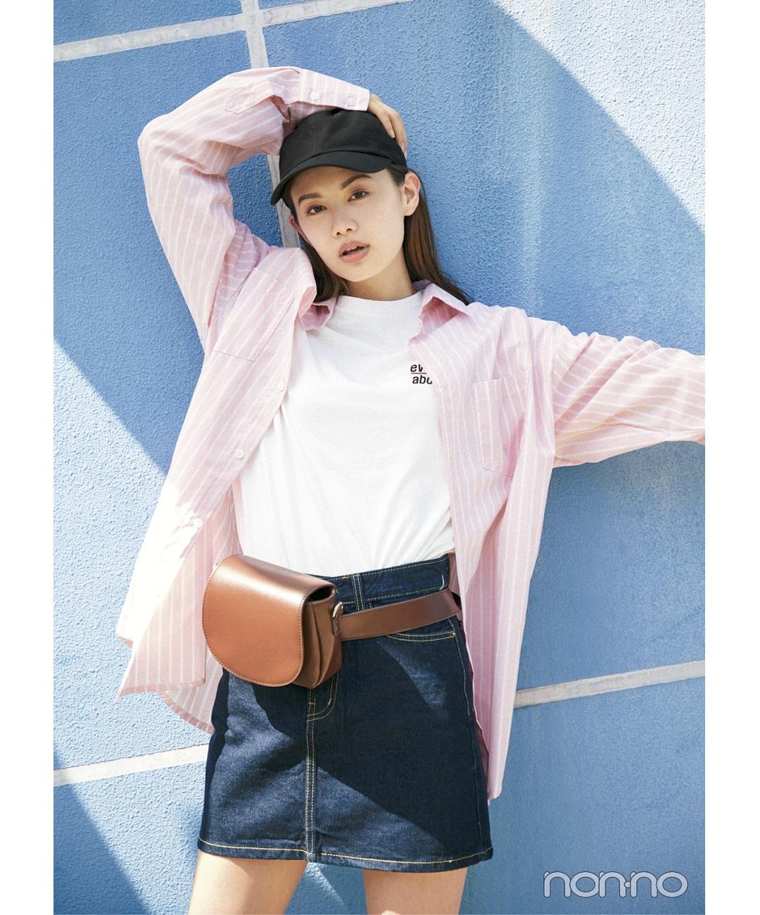 【夏のシャツコーデ】泉はるのビッグシャツ韓国MIXコーデ