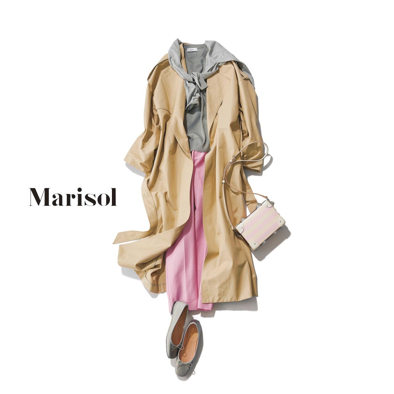 40代ファッション ゆるフェミニントレンチ×大人ピンクパンツコーデ