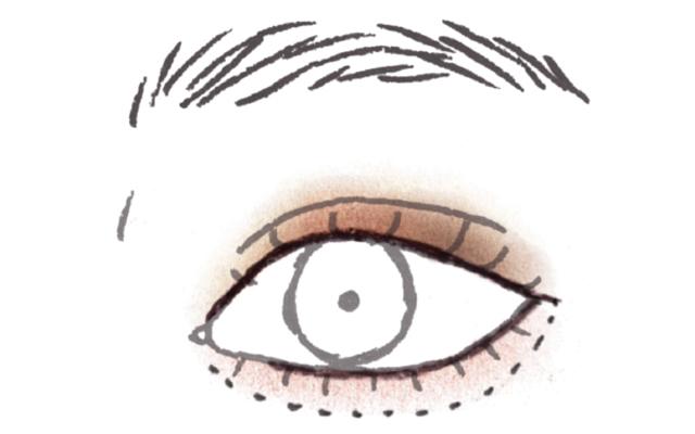ブラウンのワントーンで立体的な目もと《3》下まぶたライン&シャドウで頰もきゅっと締まり小顔に