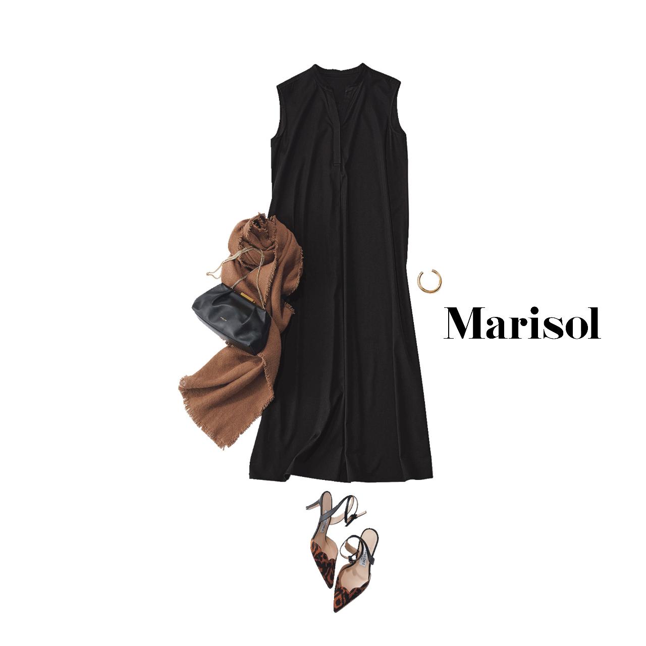 40代ファッション  黒ワンピース×ブラウンストールコーデ