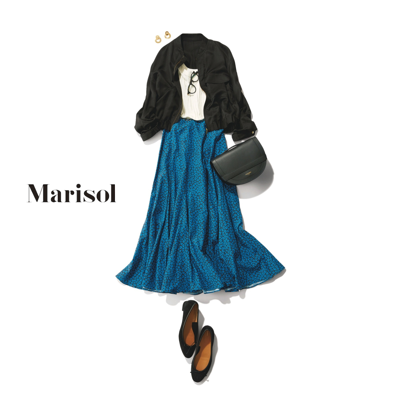 40代ファッション ジップブルゾン×小花柄スカートコーデ