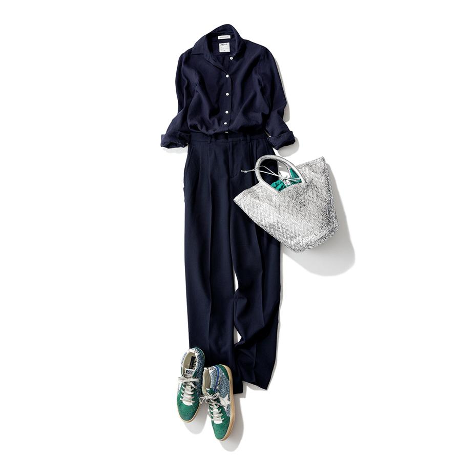 グリーンスニーカー×ネイビーのワントーンファッションコーデ