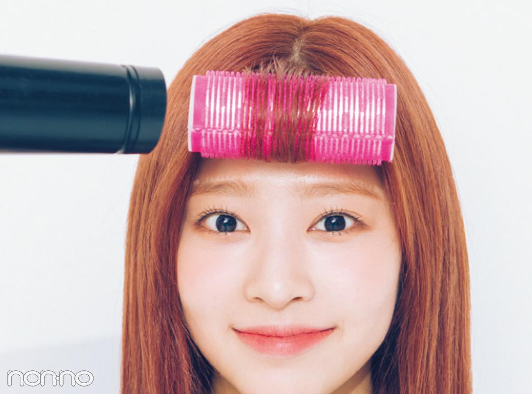 IZ*ONEの前髪アレンジ★ ミンジュが透けバングのカーラーテクを教えてくれた!_1_4