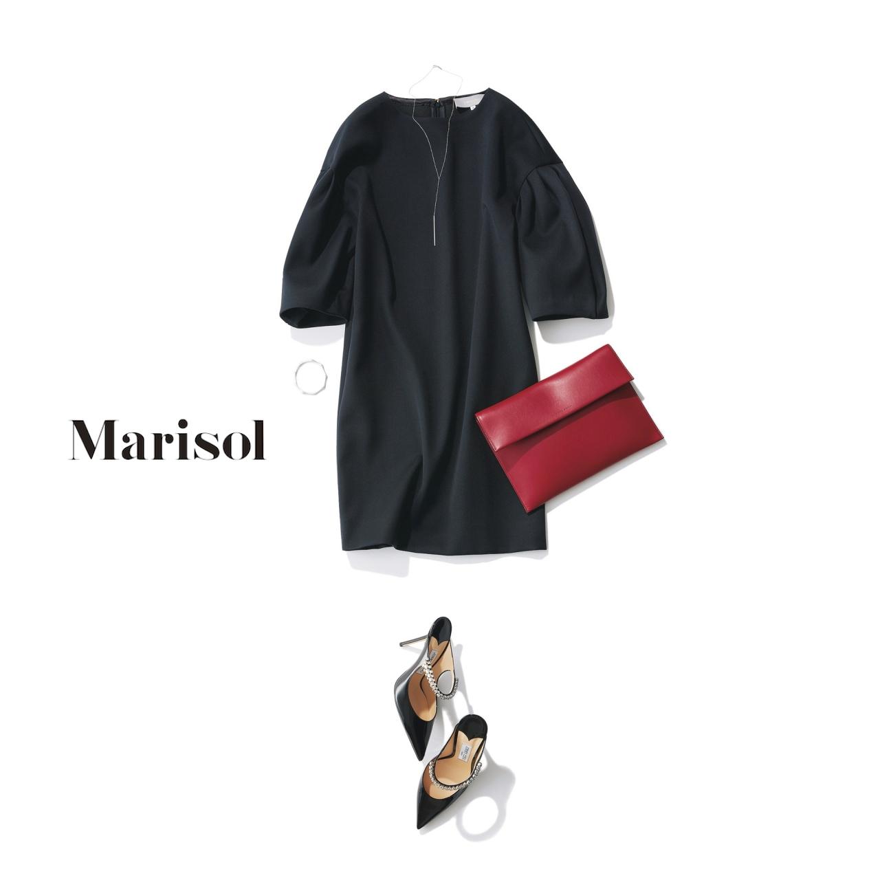 40代ファッション パフスリーブドレス×ビジューパンプスコーデ