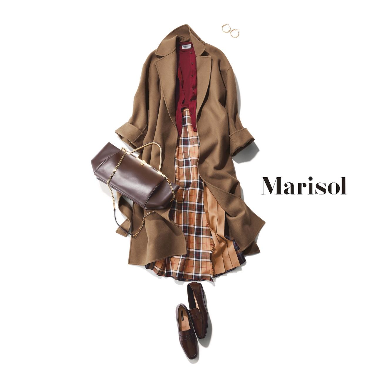 40代ファッション アンサンブルニット×チェック柄スカート×コートコーデ