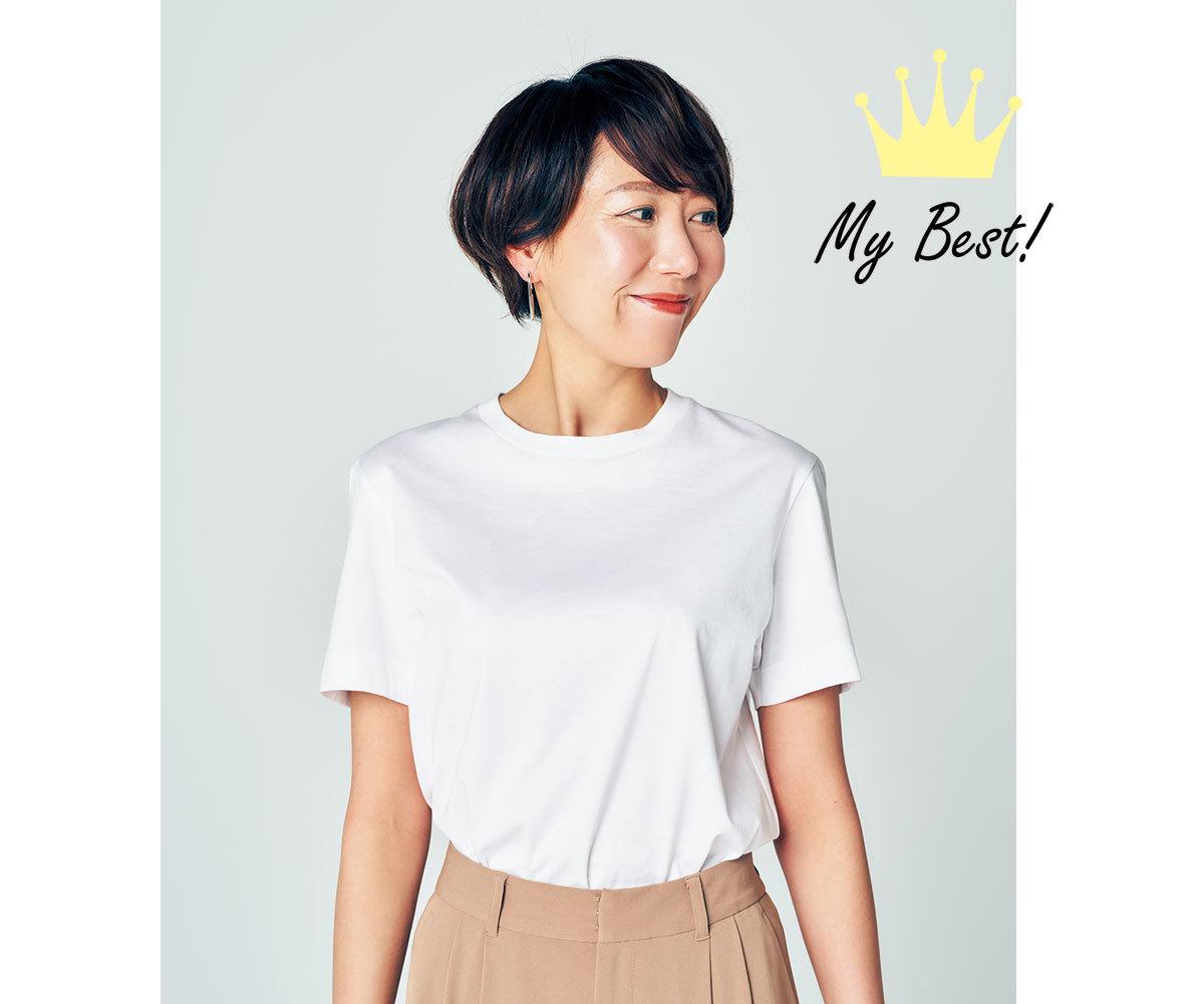 デコルテをカバー白Tシャツ1