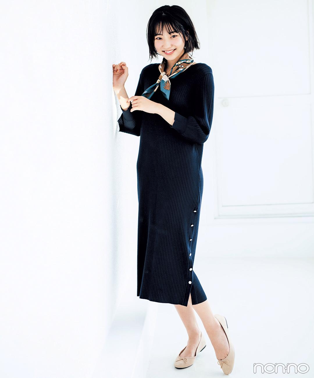 GUのニットワンピで秋先取り♡ スカーフで雰囲気UP!【毎日コーデ】
