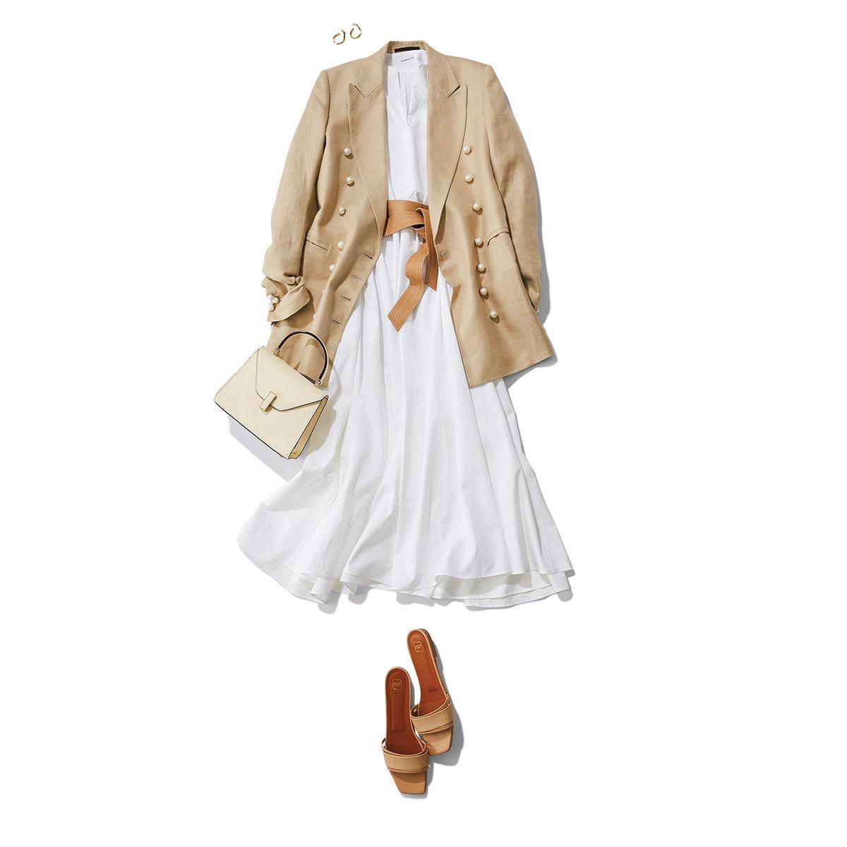 ベージュのkジャケット×白のロングワンピースコーデ
