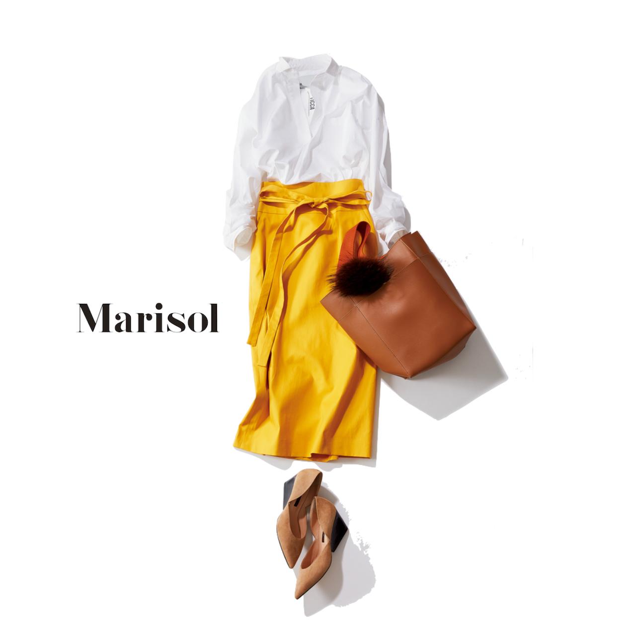 白シャツ×イエロータイトスカートコーデ